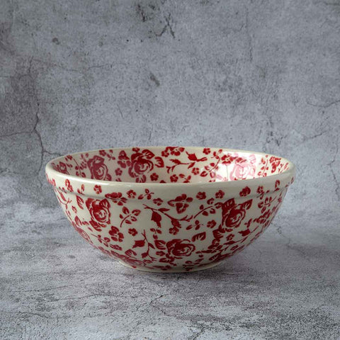 hand-decorated pottery side bowl from gz32 roses collection