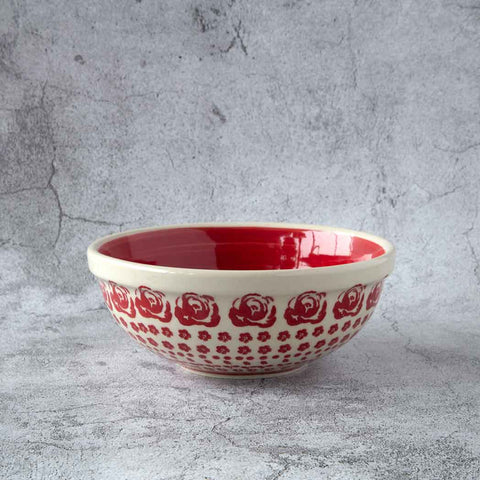 ceramic hand-decorated side bowl 14 cm diameter with delicate roses pattern outside and red planes inside