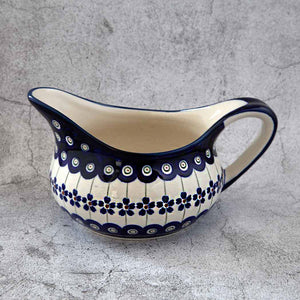 166A HAND-DECORATED GRAVY BOAT FROM POLISH POTTERY