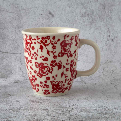 ceramic coffee tea mug decorated with delicate roses pattern