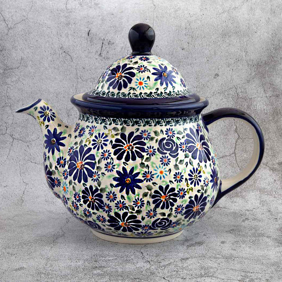 BLUE SUMMER GARDEN HAND-DECORATED TEAPOT
