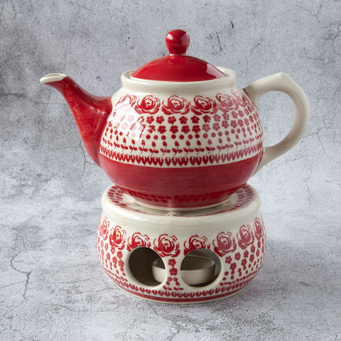 ceramic teapot 0,7l with a heater from gz33 roses tableware collection