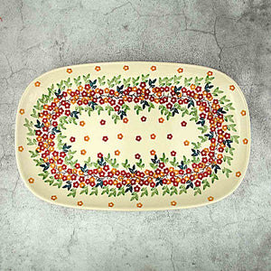 hand-decorated oval platter from Polish pottery kk02 collection