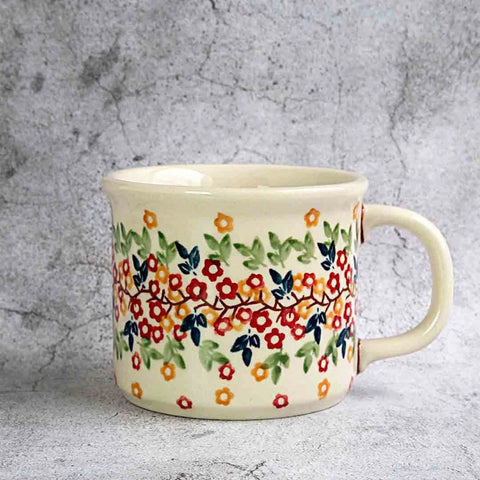 hand-decorated pottery coffee tea mug from tiny flowers collection