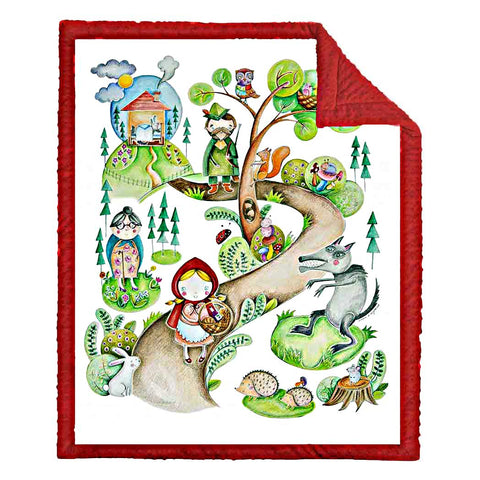 LITTLE RED RIDING HOOD BABY QUILT - Forkandpillow