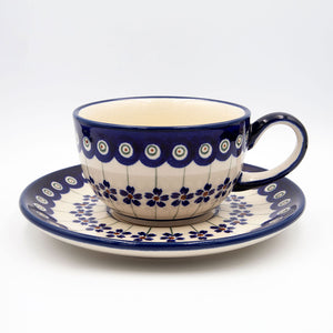 166a floral peacock ceramic hand decorated coffee tea cup with saucer
