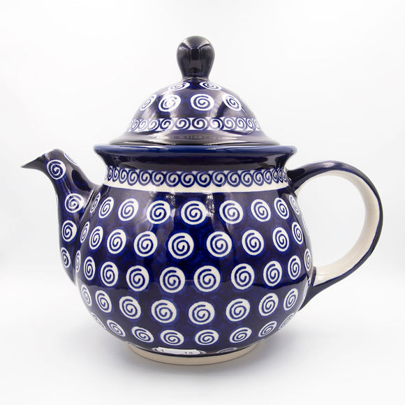 Blue Swirl Hand-Decorated Teapot