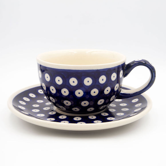 42 polka dot hand-decorated ceramic coffee tea cup with saucer