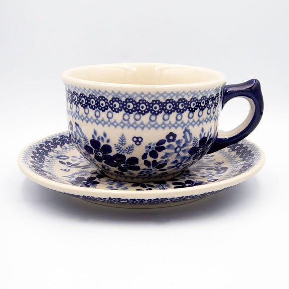 blue and white sb01 ceramic hand decorated coffee tea cup with saucer