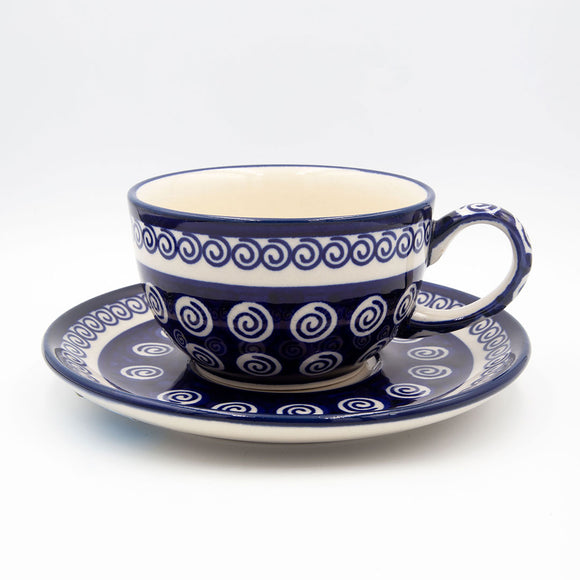 174a blue swirl hand decorated ceramic coffee tea cup with saucer