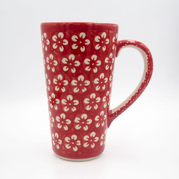 colorlove collection Polish pottery hand decorated ceramic coffee tea mug red flowers