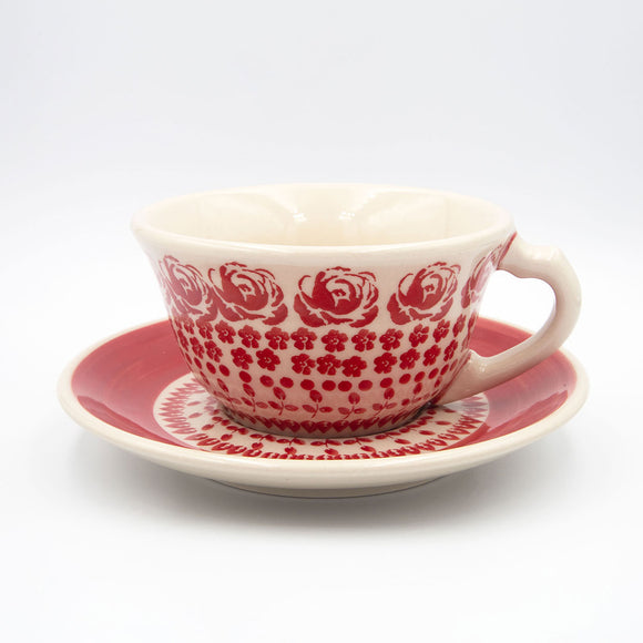 gr33 red roses ceramic hand decorated coffee tea cup with saucer