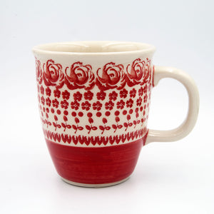 gr33 red rosed hand-decorated classic coffee tea mug