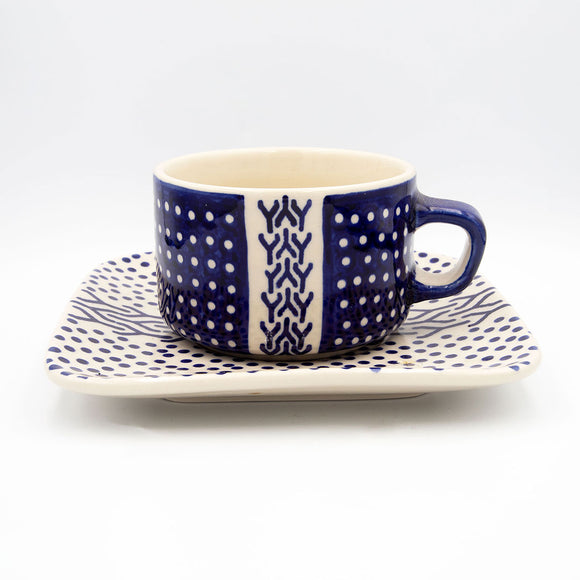 modern hand decorated ceramic coffee tea cup with saucer