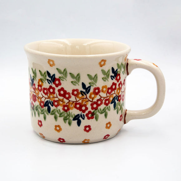 tiny flowers hand-decoragted ceramic coffee tea mug from Polish pottery