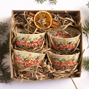 Christmas Gift Set Polish Pottery Hand-Decorated Side Bowls From Tiny Flowers Collection