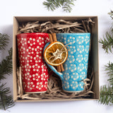 Christmas Gift Set Polish Pottery Hand-Decorated Coffee Tea Mugs From ColorLove Collection