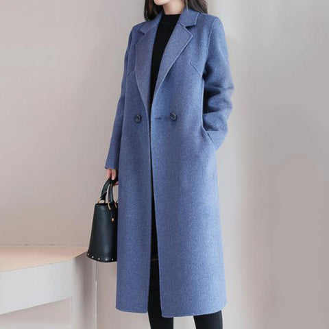 Fashion solid color lapel coat