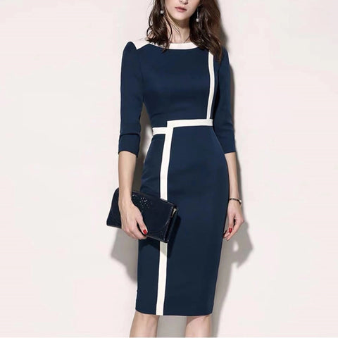 Fashion commuter round neck color matching slim dress