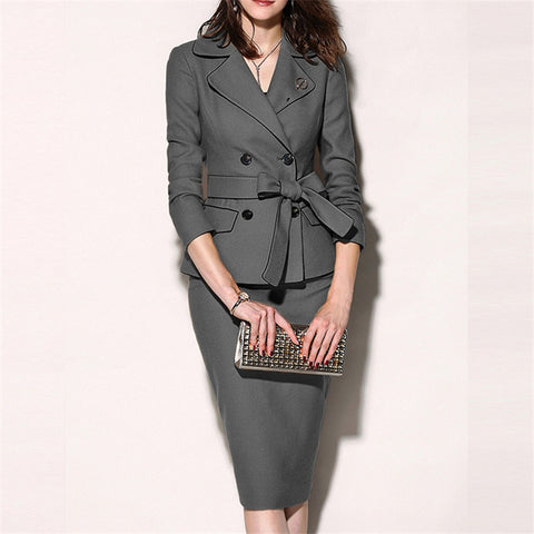 Fashion fold collar solid color double-breasted blazer dress