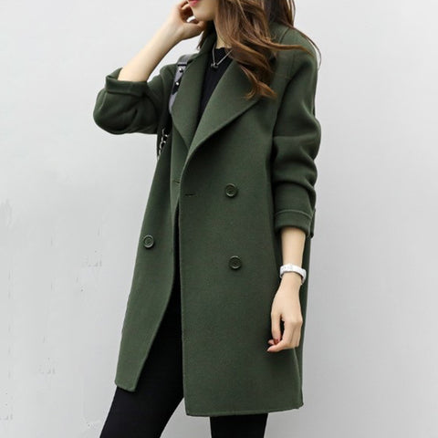 Casual Medium Long Double-breasted Woolen Coat
