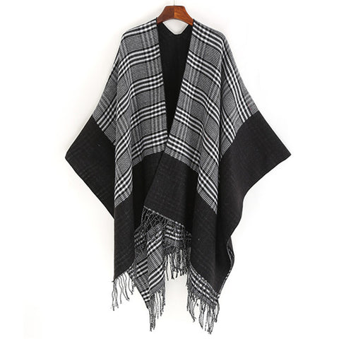 Fashion Lattice Tassel Slit Warm Shawl