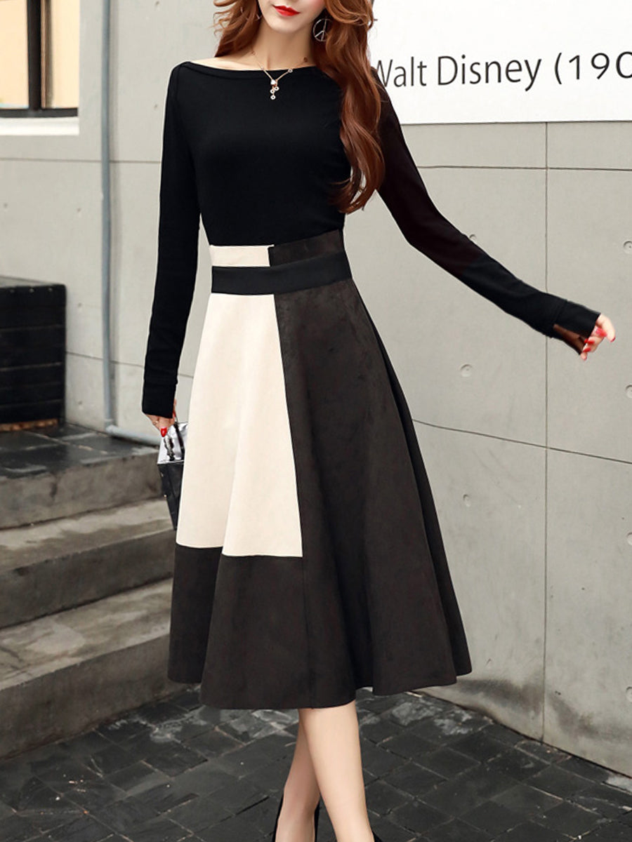 Round Neck Zipper Color Block Two-Piece Skater Dress