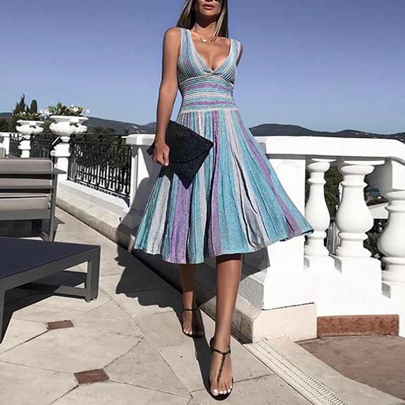 Commuting V Neck Off-Shoulder Bare Back Pleated Striped Dress