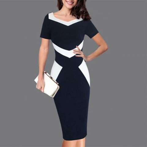 Fashionable pure color splicing V-neck dress