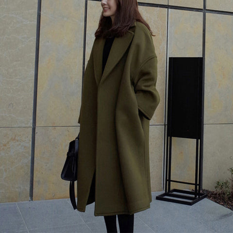 Casual lapel solid color wool long coat