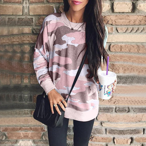 Best selling explosions 2019 autumn and winter fashion printing round neck long-sleeved women's shirt camouflage sweater a large number of spot