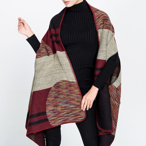 Women's irregular color stripes camouflage shawl