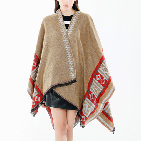 Fashion wild geometric pattern women warm shawl