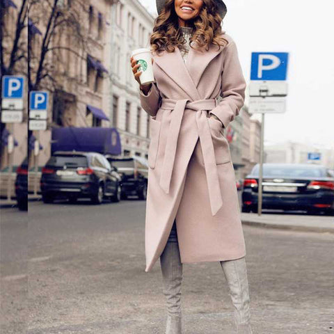 Fashion Solid Color Lapels Tie Woolen Coat