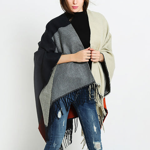 Classic split scarf cape dual winter Shawl