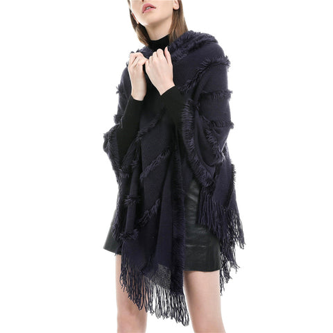 Fashion solid color women's tassel shawl