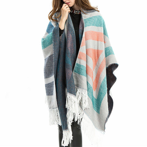 Classic striped fringed scarf Shawl