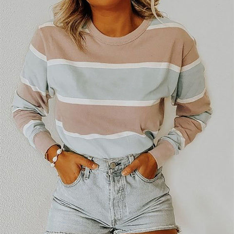 Women's Casual Round Neck Long Sleeve Contrast Color Loose Sweatshirt