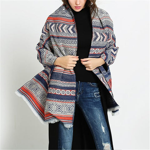 Women's retro geometric thick scarf