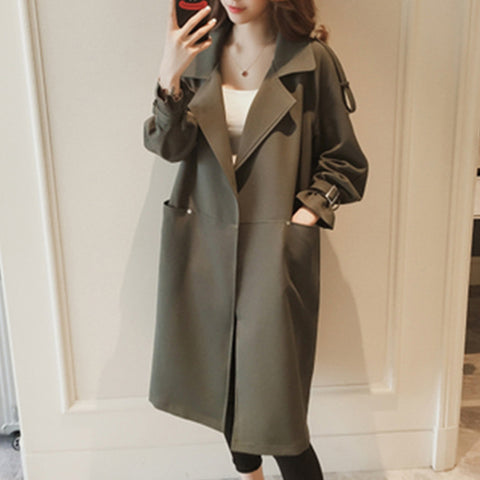Women's fashion solid color long-sleeved loose coat