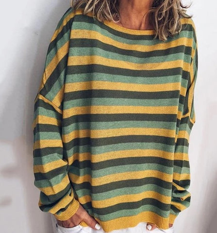 Casual Striped Crew Neck Long Sleeve Loose T-Shirt
