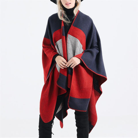 Women's fashion classic colorblock cloak