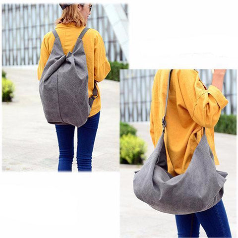 Woman Fashion Dual-Use Canvas Solid Handbag Big Capacity Backpack Tribal Rucksack