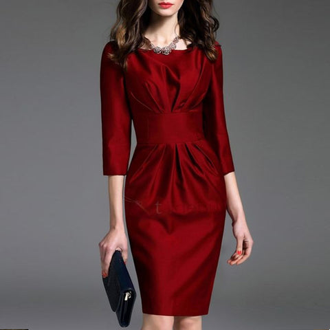 Elegant Round Neck Cropped Sleeves Pleated Red Dress