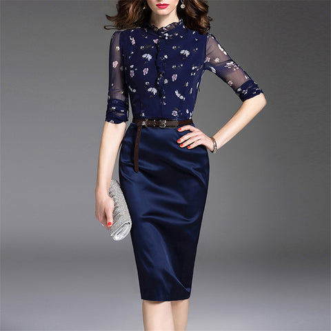 Autumn And Winter Floral Tight Fashion Dress