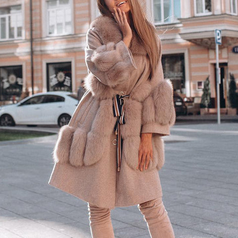 Stylish solid color pocket solid color women's coat