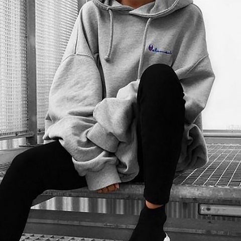 Brief Solid Colour Long Sleeve Loose Hoodie