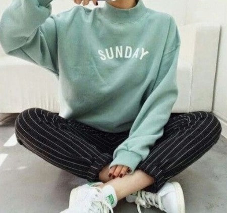 Brief Short High Collar Letters Printed Colour Long Sleeve T-Shirt
