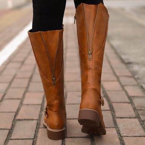 Women's Vintage Solid Color Back Zipper Boots