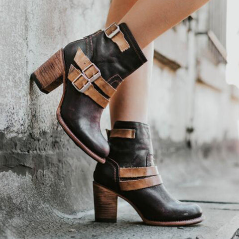Color Block Chunky High Heeled Round Toe Date Outdoor Short High Heels Boots